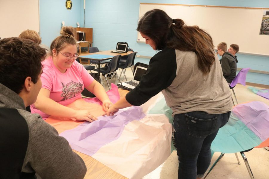 Students in Aviation work on their project. In the class, students worked on many projects throughout the semester.