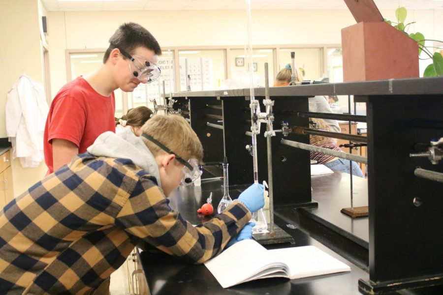 Seniors Ethan Pross and Zach Mathisen work together on a project in AP chem.