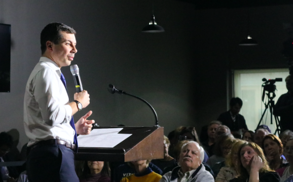 Presidential-hopeful Pete Buttigieg speaks to Atlantic residents last fall. Buttigieg is third in the latest Iowa poll, with 15.5 percent.