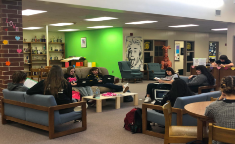 Students in the library study during their free period. The couches are open to anybody during this time. They are used for comfort and socializing, the interactions helping improve the student culture.