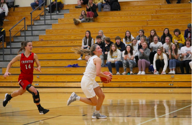 Junior Haley Rasmussen goes in for a layup. On Saturday, Feb. 15, the girls basketball team beat Clarinda 58-14. In that game, Rasmussen splashed in 27 points.