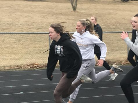 Freshman Jazzy Dagel practices her skills at track practice. She competes in sprinting events.