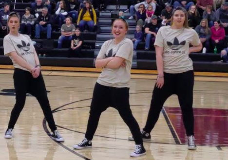 Members of the Villa Dance Company showcase their talent at a halftime performance this year. Hip hop is just one of the many classes freshman Gracie Flinn takes.
