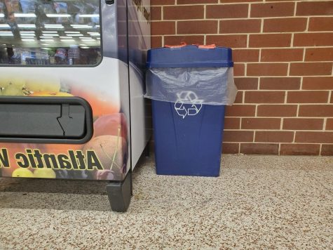 While there are paper recycling bins throughout the classrooms at AHS, there is only one dedicated to plastic.