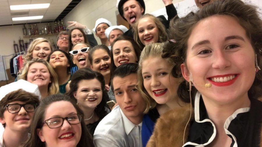 Cast+members+pose+for+a+selfie+before+the+2019+musical+%22Anything+Goes.%22+Senior+Joel+Behrens%2C+a+sailor+in+this+show%2C+said+that+he+would+tell+his+younger+self+to+%22do+all+the+activities+you+want+to+do+while+you+still+can.%22