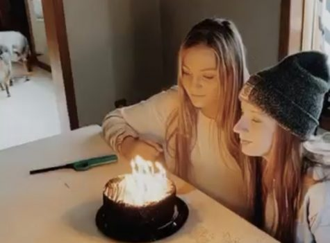 Senior Savannah Cameron blows out her candles with a friend that she shares her birthday with. This year, her birthday was a lot different than usual.