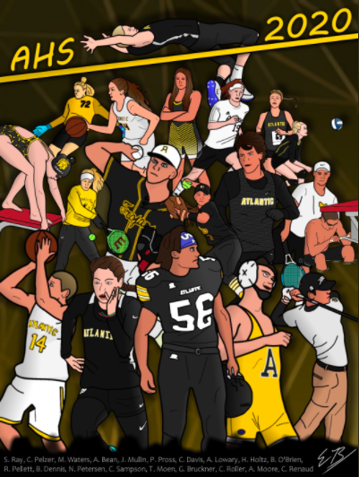 Senior Evan Brummer's artwork was posted on twitter at the beginning of April. The poster showcases senior athletes from AHS.