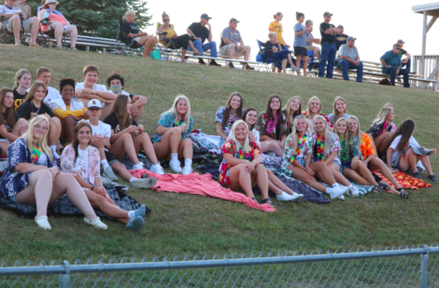 Student+sections+have+already+kicked+off+at+away+football+games.+While+playing+Underwood%2C+last+week%27s+theme+was+Hawaiian.+Social+distancing+was+not+enforced+during+the+game.
