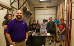 Mr. Widrowicz gathers his fourth period class for a photo. Widrowicz teaches industrial tech classes at both the high school and middle school.