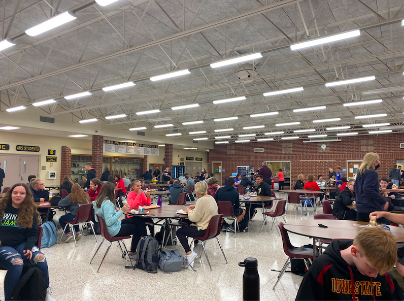 Most students eat school lunch in the commons. Lunch is divided into two sections: A and B.