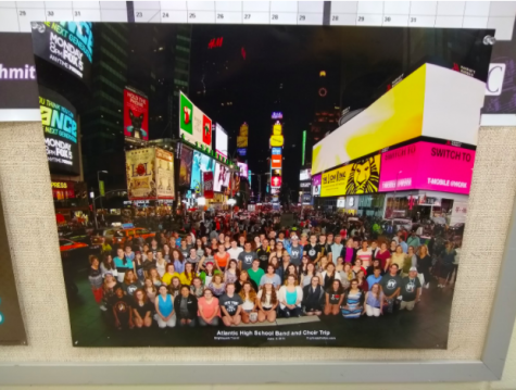 Band Director Jarrod O'Donnell has a picture of the last band and choir trip hanging in his classroom. In June of 2016, the students went to New York City, New York.
