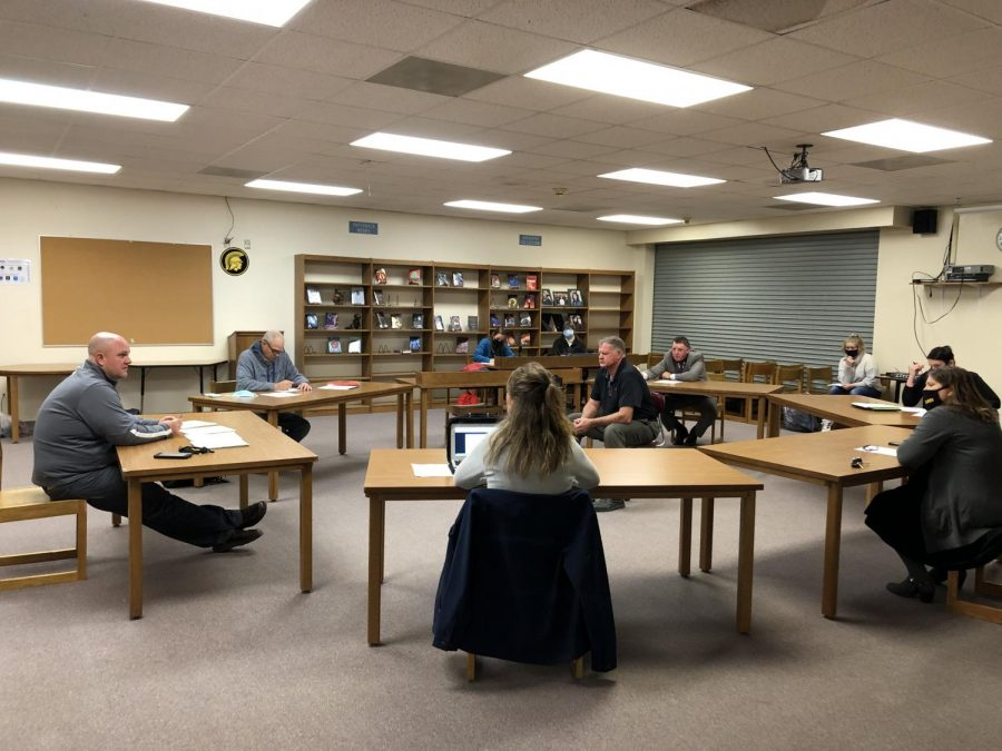 Members of the school board sit down to discuss COVID-19 mitigations ACSD. All members were present, with Kristy Pellett calling into the meeting.