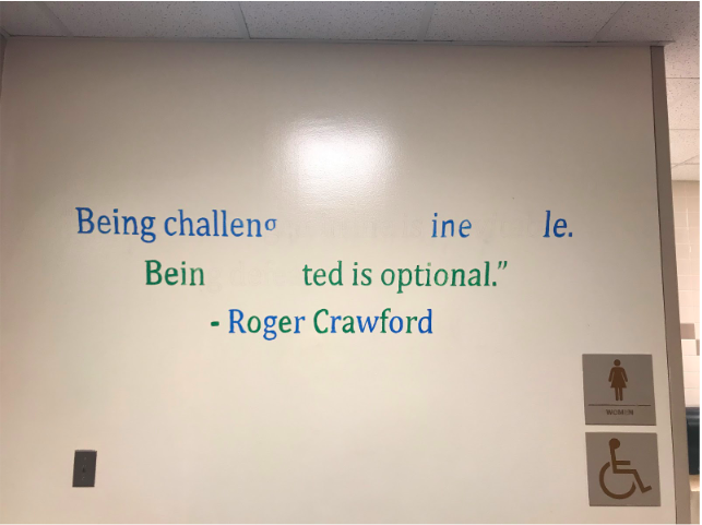 The quotes in the hallway are meant to be inspirational and stand out to students. Last year's leadership class was unable to finish them before school was shut down.