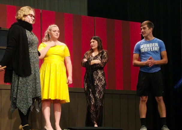 Seniors Molly McFadden, Camryn Church, Genevieve Martinez, and Colten Tasto converse in preparation for the two hour practice that occurred afterwards. Each has a leading role in the musical.