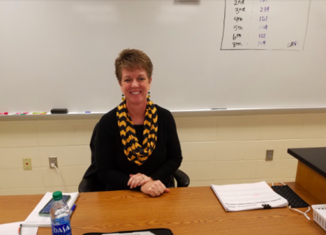 Michelle Behrends sits in the front of the room and watches over her students, making sure they stay on track with their courses.While she was usually found substitute teaching for various absent teachers, Behrends was offered the position to be a semester-long substitute until the school can find an ample replacement teacher. She took the offer in order to help out the school and to stay safe during the pandemic.