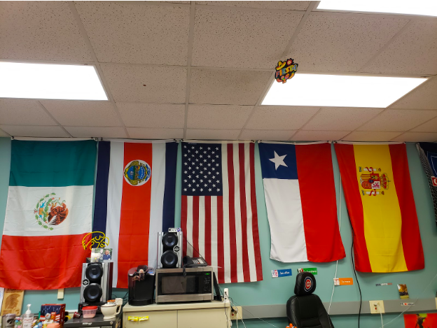 In+one+of+the+spanish+classrooms%2C+there+are+flags+from+different+spanish-speaking+countries.+Spanish+is+the+only+foreign+language+class+taught+at+AHS.+