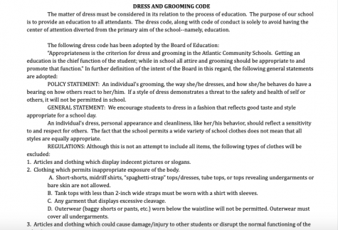 "The section of the school handbook dedicated to the dress code says, ""The dress code, along with code of conduct is solely to avoid having the center of attention diverted from the primary aim of the school--namely, education."""