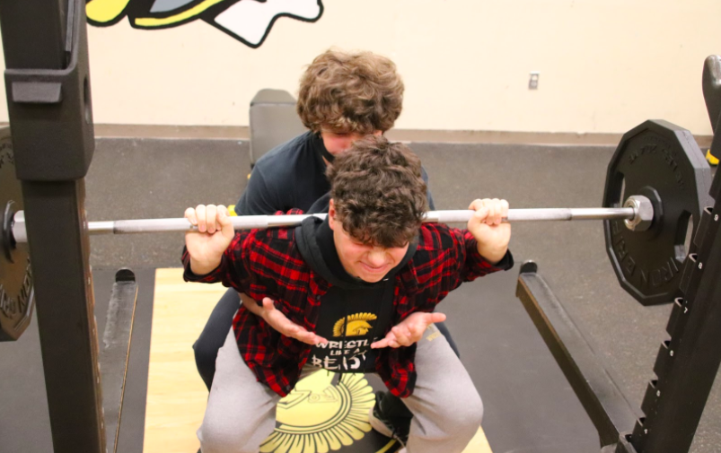 YOU CAN DO IT! Fellow sophomores Cole Park and Tanner O'Brien have been teammates since first grade. They play football and wrestle with each other every year.  They love pushing each other hard in the weight room.