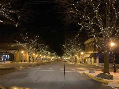 During the holiday season, downtown Atlantic is covered in Christmas lights and decorations.