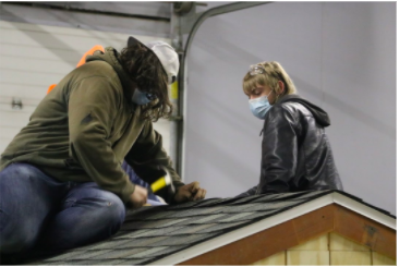 If students are interested in construction as a trade after high school, this is the class for them. With teamwork and hands-on learning, it is a great opportunity for students to work in a real shop environment. Pictured is Zach Colton and Devin Wood.