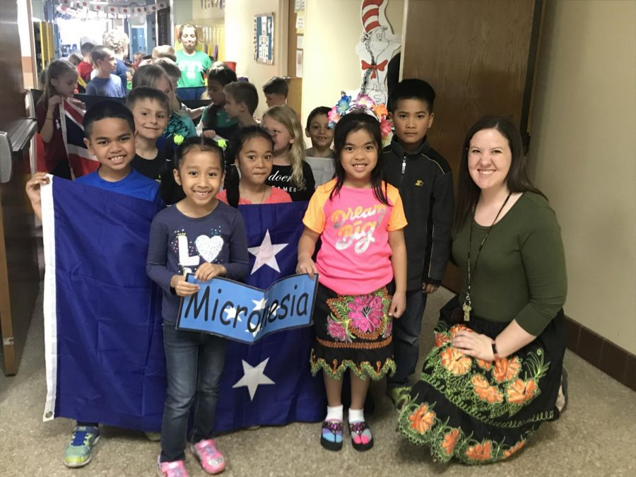 Students at Washington Elementary celebrate culture day. One of ESL Coordinator Brielle Cerven