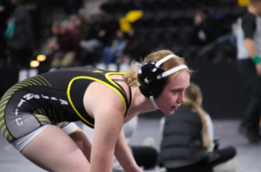 Senior Mia Trotter wrestles her way through the Girls State Tournament, ending the day 2-2. Three girls from Atlantic represented our school at the tournament.