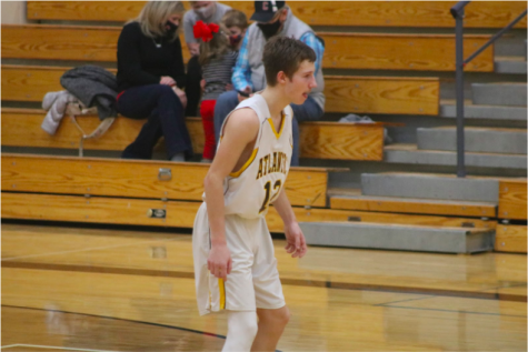 Freshman Jaice Larson prepares for the next play. Larson has been playing basketball since middle school and plans to continue throughout high school as well.