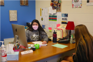 Alyssa Dovenspike is one of the two high school guidance counselors. They provide multiple resources to students and attend meetings on a daily basis.