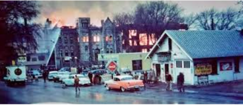 This is the original Atlantic High School. After the school closed, it became home to the Cappadelle Apartments. It burnt down in 1955 and became known as the greatest fire in Atlantic, Iowa's history.