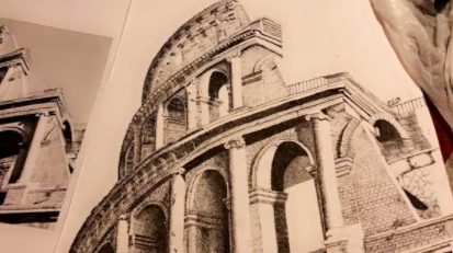 The Roman Coliseum catches the attention of many at a previous Hawkeye-10 Art Show. Senior Isabellah Peterson's stippling is one of her many award-winning pieces of artwork.