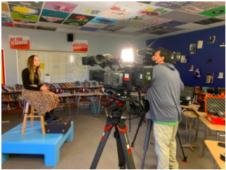 """Brynna Kern is ready to film with Iowa PBS. She was interviewed about her award-winning video about Zoey Moore and her new wheelchair. Kern said that she was proud that she won the award for """"Zoey's In The Driver's Seat."""""""