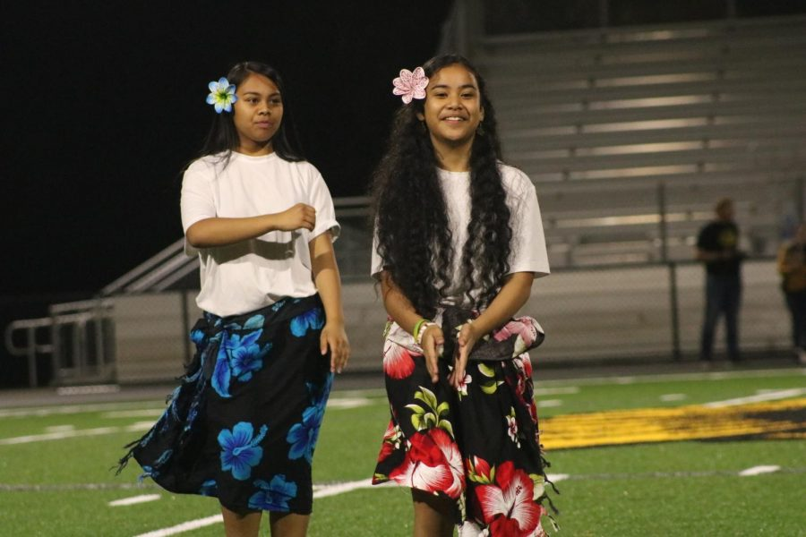 Enrelin Rano and Erinchina Mark dance during 2020 Homecoming festivities. Students will again hula as part of this years Homecoming assembly.