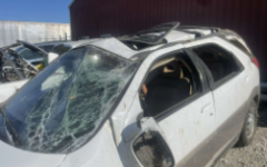 Brycen Ericksen's white Buick Rendezvous sustained damage due to the accident.