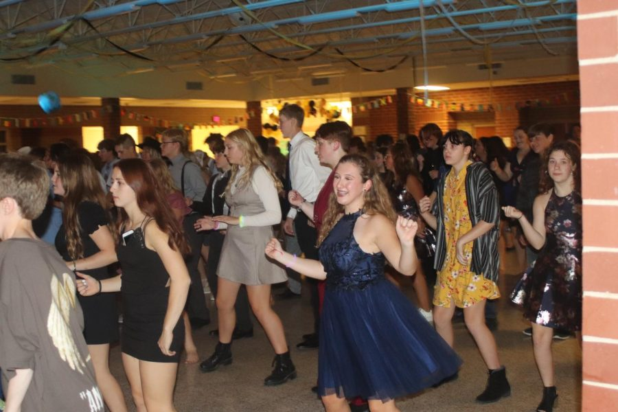 DANCING THE NIGHT AWAY-  Students dance their heart out with friends.