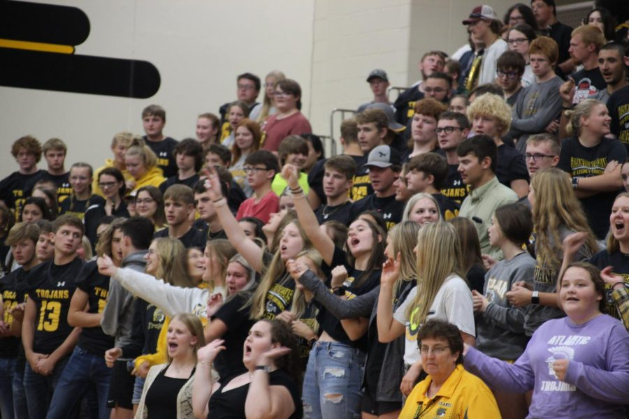 CHEERIN ON- Students at the pep rally would participate in friendly competition called Battle Cry, where  every section of classes has to yell victory as loud as they can.